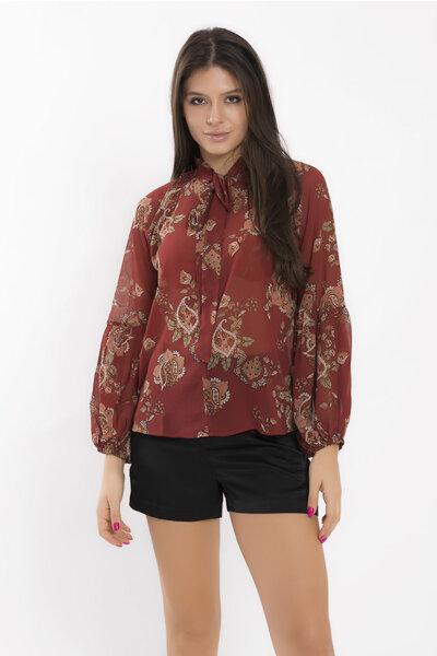 Camisa com laco na gola em chiffon boho flower