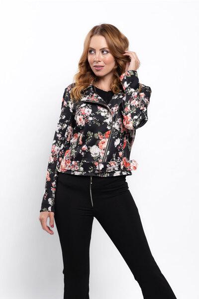 Jaqueta perfecto estampa florida com bolsos
