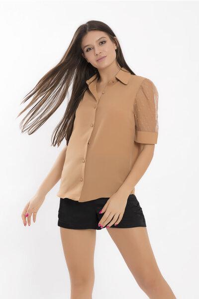 Camisa com manga bufante em tule petit pois