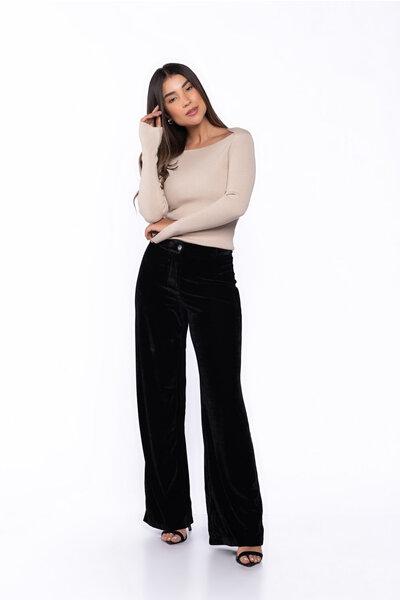 Calca pantalona veludo com bolso