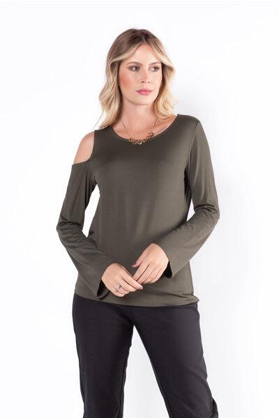 Blusa malha sophistique um ombro vazado