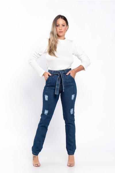Calca jeans detalhe pregas
