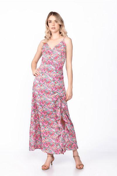 Vestido midi viscose florido fenda regulável