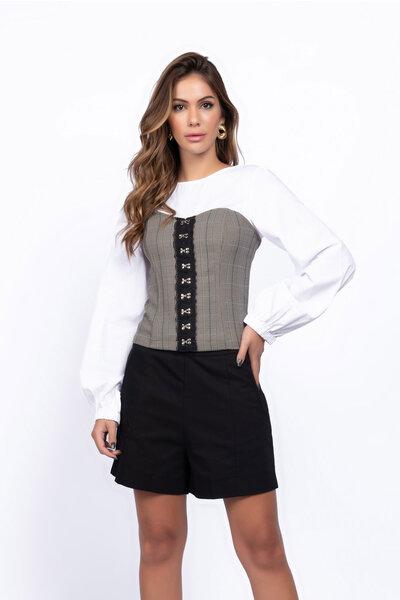 Camisa detalhe corselet principe de gales