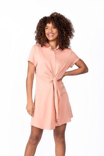Vestido curto viscose com botões transpasse