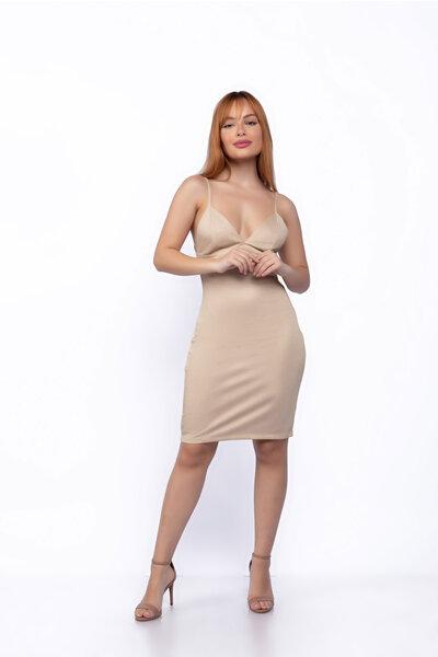 Vestido curto malha lurex costas nua