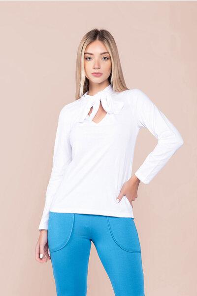 Blusa algodão manga longa amarração