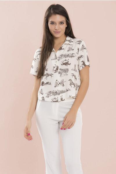 Camisa manga curta em viscose horses