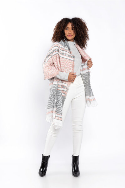 Echarpe tricot estampa geométrica tricolor