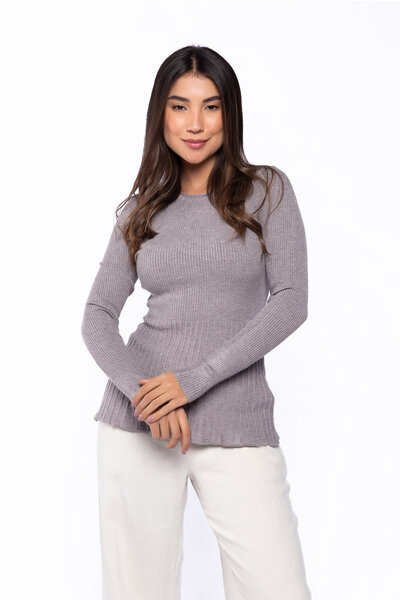 Blusa tricot canelado franzida