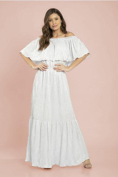 Vestido longo canelado recortes ombro a ombro