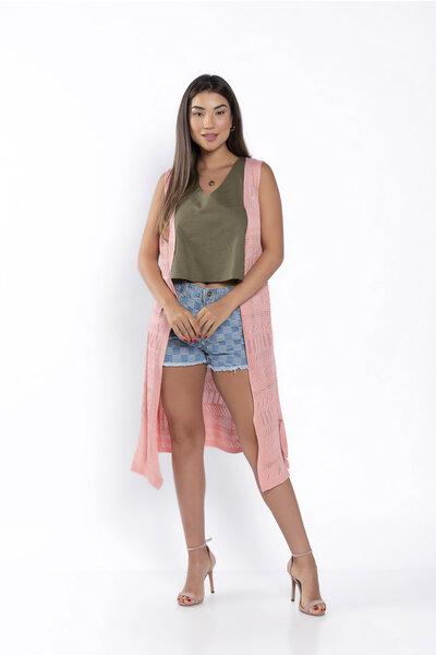 Colete tricot sem manga