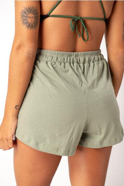 short cintura alta verde musgo
