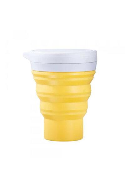 copo de silicone reutilizável amarelo 400ml | menos 1 lixo
