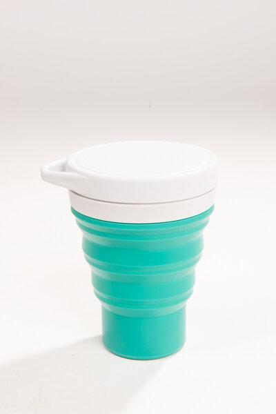 copo de silicone reutilizável verde 400ml | menos 1 lixo