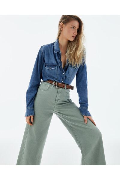 Camisa Jeans Escuro
