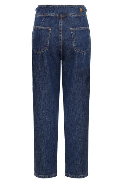 Calça Baggy Cos Transpassado Jeans Escuro