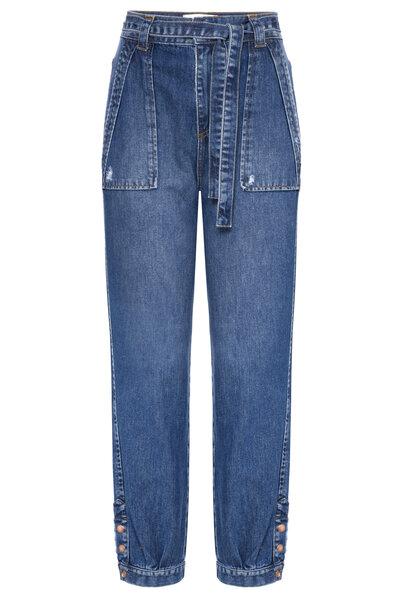 Calça Haren Botão Jeans Escuro