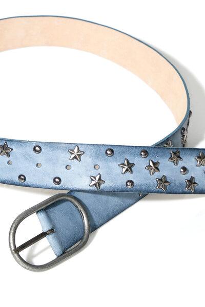 Cinto Couro Estrelas Azul