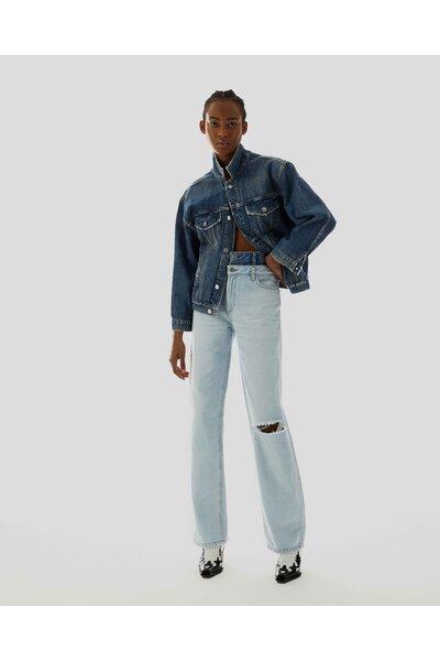 Jaqueta Oversized Jeans Escuro