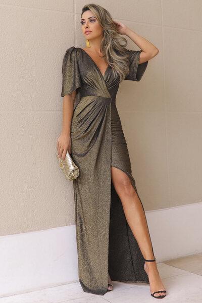 Vestido longo chandon lurex