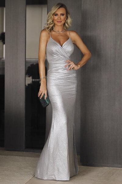 Vestido longo royale lurex