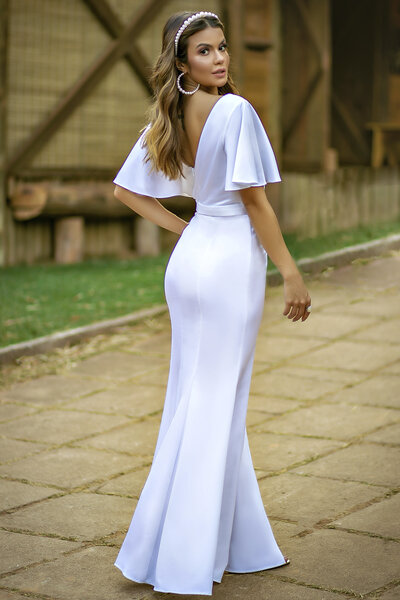 Vestido longo aqua