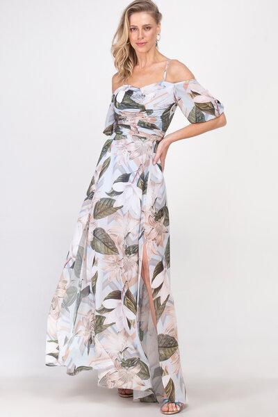 Vestido longo tchela estampado