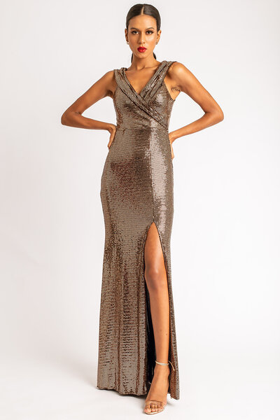 Vestido longo tania foil