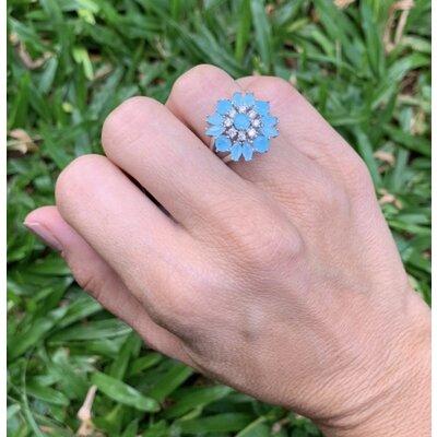 Anel Flor azul claro