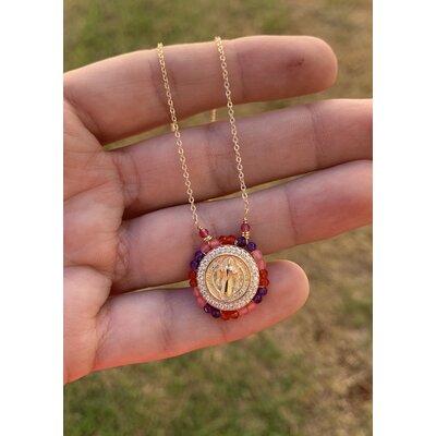 Colar Medalhinha SB com cristais rosa/vermelha