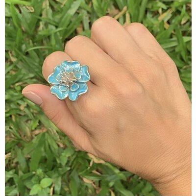 Anel Flor azul