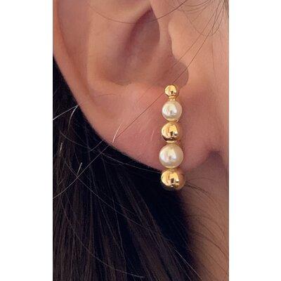 Ear Hook Ana perola ouro