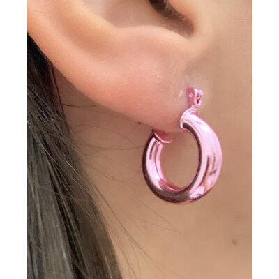 Argola tubo rosa P