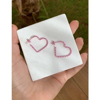 Argola Coração trançado rosa