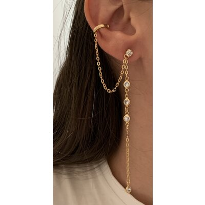 Brinco Corrente + piercing ouro cristal