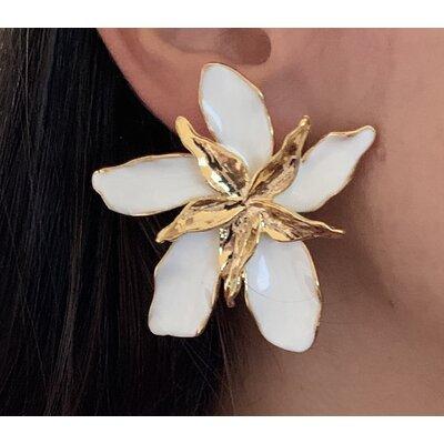 Brinco Flor orquidea branca
