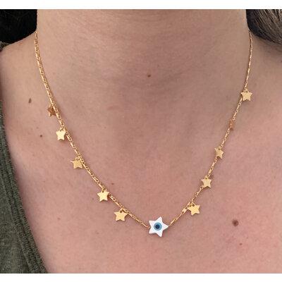 Colar Estrela olho grego com estrelas