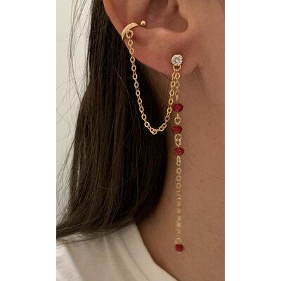 Brinco Corrente + piercing ouro vermelho