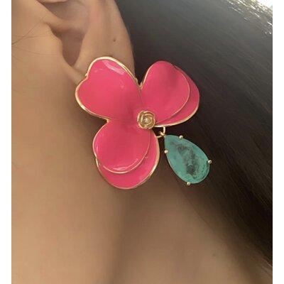 Brinco Orquidea Pink com pedra esmeralda colombiana