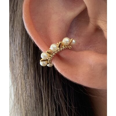 Piercing spike e pérola ouro