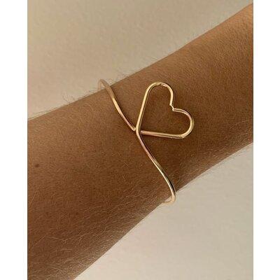 Bracelete coração vazado ouro