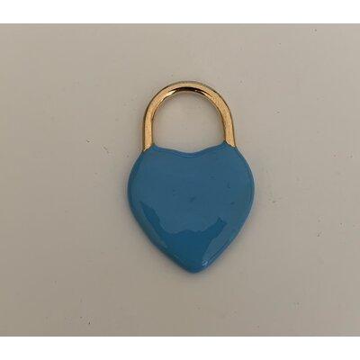 Coração cadeado azul