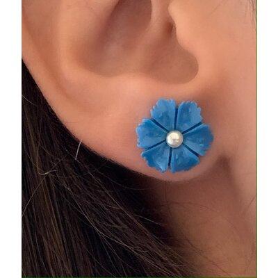Brinco Flor mini Azul