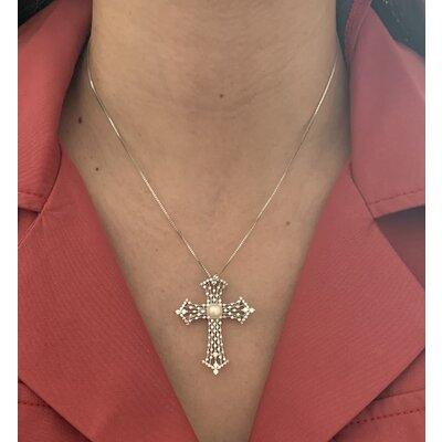 Colar Crucifixo Perola ródio