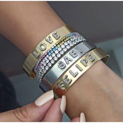Bracelete Letras Cravejadas