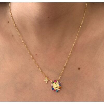 Colar Santinha rainbow + cruz