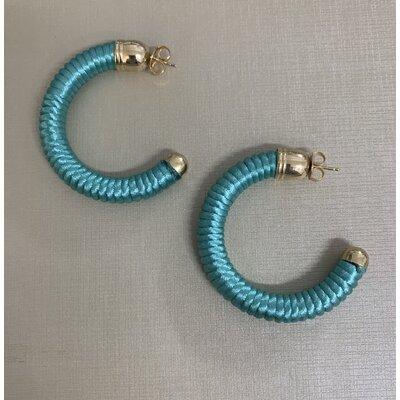 Argola fio de seda azul