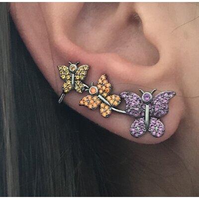 Ear cuff Borboletas colorida