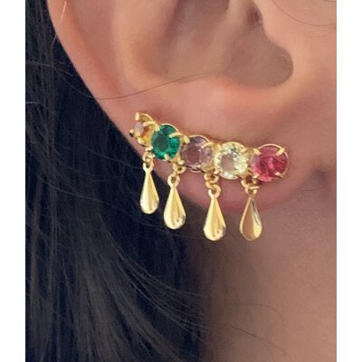 Ear Cuff color pingentes ouro